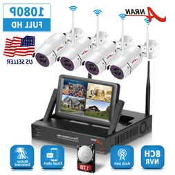 """ANRAN 12""""LCD Monitor NVR Wireless Security Camera System 8CH"""