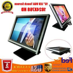15 Inch 1024x768 Resolution VGA LED LCD Monitor  Touch Scree