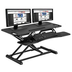 "37"" Dual Monitor Adjustable Height Desk Riser Tabletop Sit t"