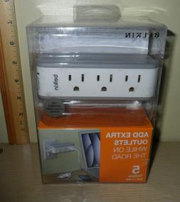 Belkin Mini Surge Protector ~ 3 AC Outlets, 2 USB Outlets ..