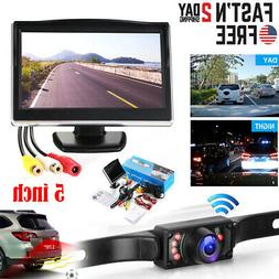 "Wired 5"" Monitor Car Rear View System Backup Reverse Camera"