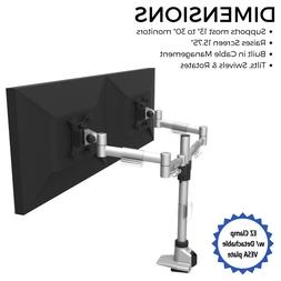 Dual Monitor Mount w/ EZ Clamp Design | Holds 2 Computer Mon