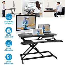 Height Adjustable 2 Monitors Riser Standing Desk Tabletop Si
