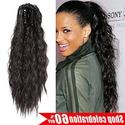 AMELI Kinky Straight Synthetic Ponytail Clip in Hair Extensi