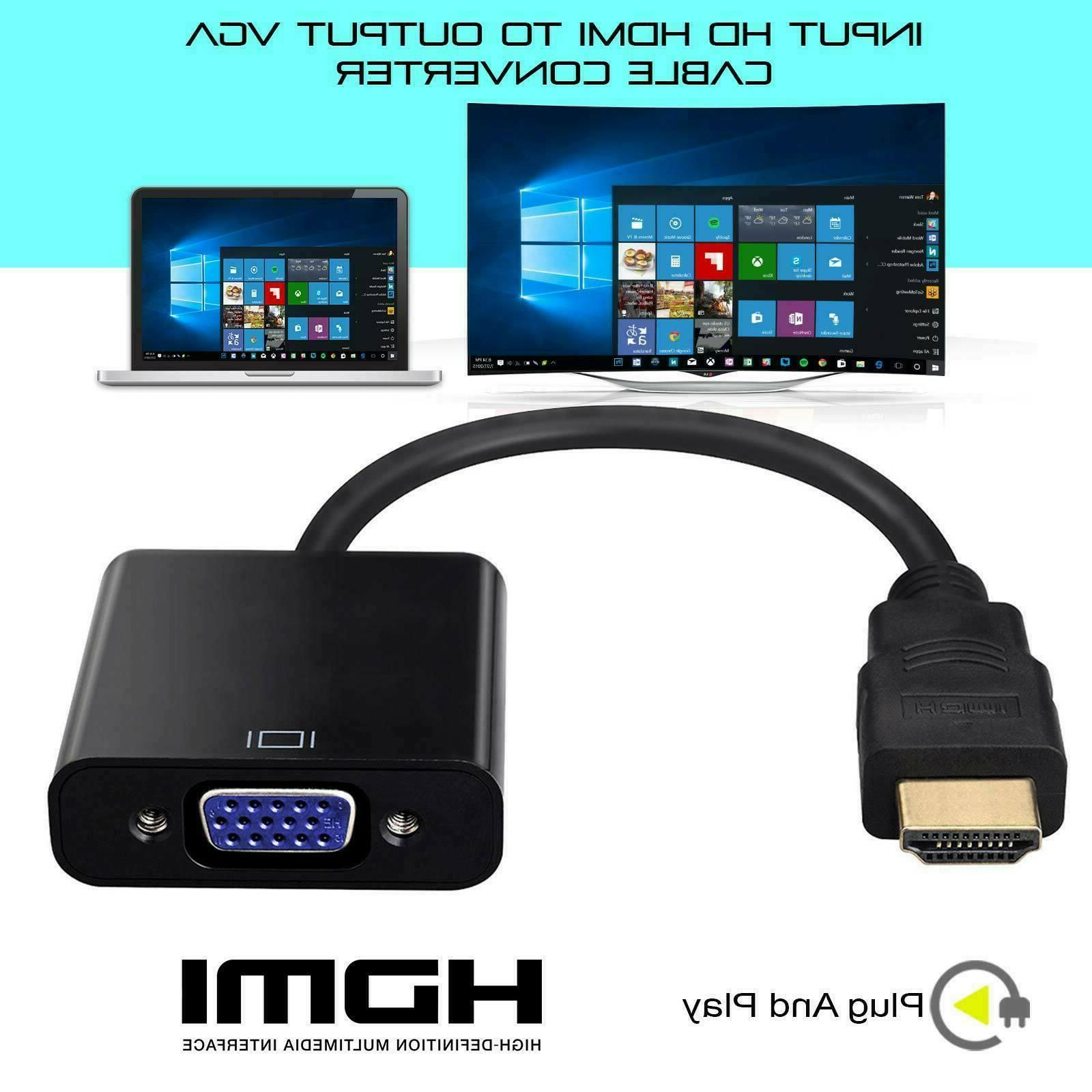 HDMI Male to VGA Female Video Cable Converter Adapter For PC