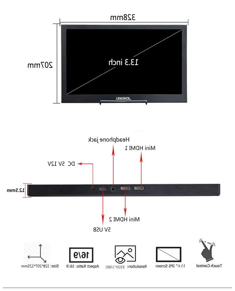13.3 inch Portable touch 2K for PC PS4 Xbox 1080P LCD Display switch
