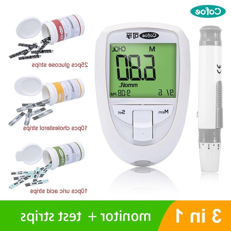 Cofoe Cholesterol meter Uric Acid meter tester <font><b>Glucose</b></font> <font><b>Monitor</b></font> Test Strips Diabetes Device