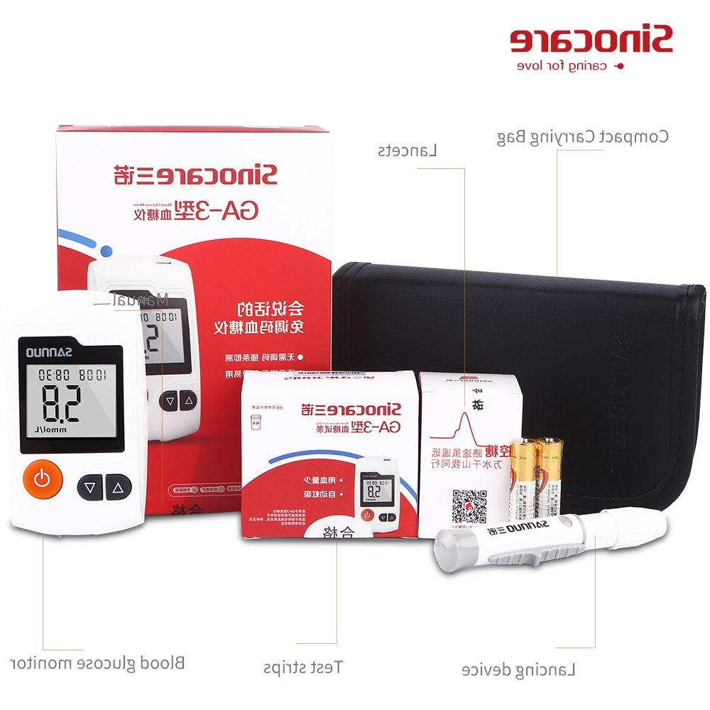 English Manual Blood <font><b>Glucose</b></font> <font><b>Monitor</b></font> Test Strips Separated Lancets Blood Test for Diabetes