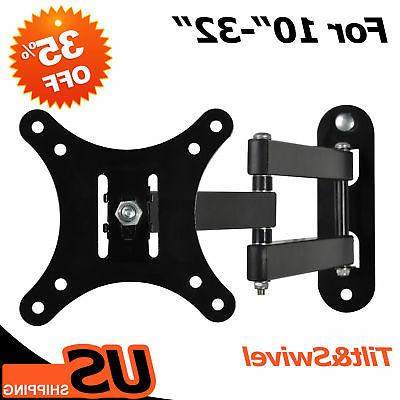 Full Motion Tilt Swivel Monitor TV Wall Mount Bracket for 17