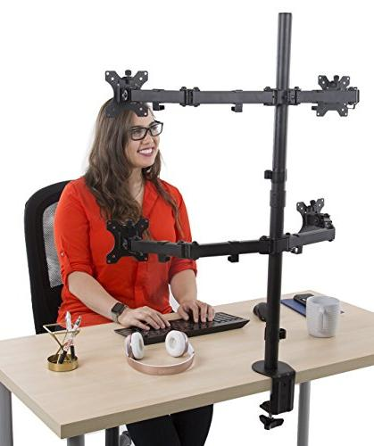 Stand 4 Desk Mount Stand | Height Adjustable Quad Stand and Clamp | VESA Mount Most LCD/LED Monitors 13-32