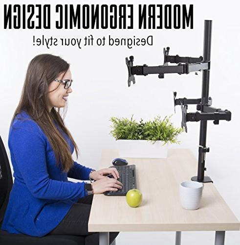 Stand Monitor Desk Mount Height Adjustable and Clamp VESA Fits Most LCD/LED