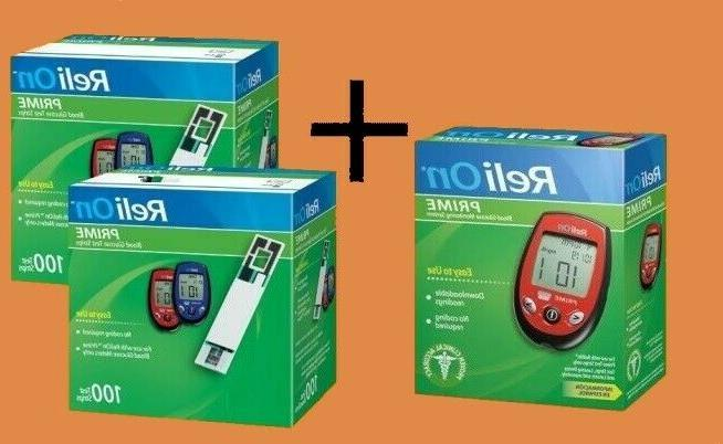 ReliOn Prime Monitor Meter Kit and 200 Test Strips
