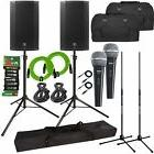 """Mackie Thump12A 12"""" Powered DJ PA Speakers Pair + Stands + C"""