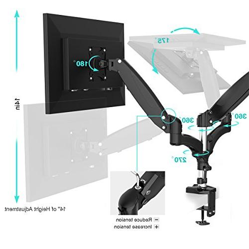 """SLYPNOS Triple Monitor Gas Height Arm with Ergonomic 3 15""""-21"""" Monitors"""
