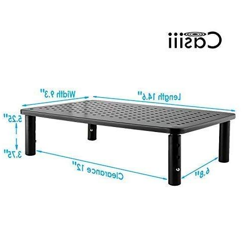 CASIII Monitor Riser for Computer Display Vented Stand, Platform Shelf Adjustable 3.75 5.75 Inch Tall, CAS-081