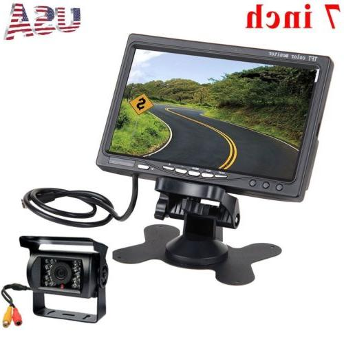 """Wired IR Rear View Backup Camera Night Vision System +7"""" Mon"""
