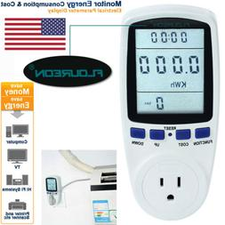 LCD Power Energy Monitor Outlet Watt Amp Volt KWh Meter Elec