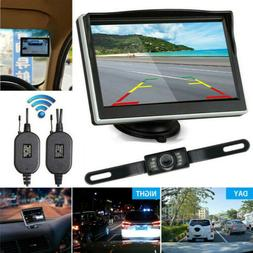 "Wireless 5"" Monitor Car Rear View System Backup Reverse Came"