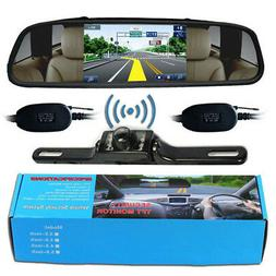 """Wireless Reverse Car Backup Camera With 4.3"""" Rear View Mirro"""